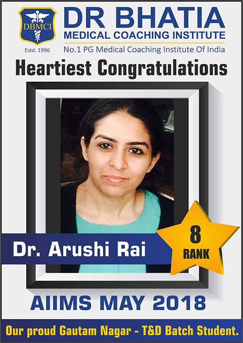 Dr Arushi Rai (Rank - 8) AIIMS PG May 2018