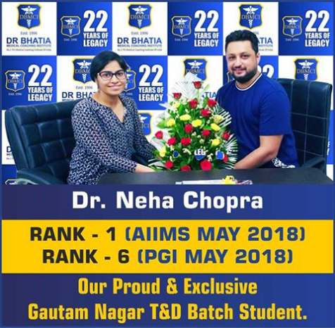 Dr Neha Chopra ( Rank - 1) AIIMS PG May 2018