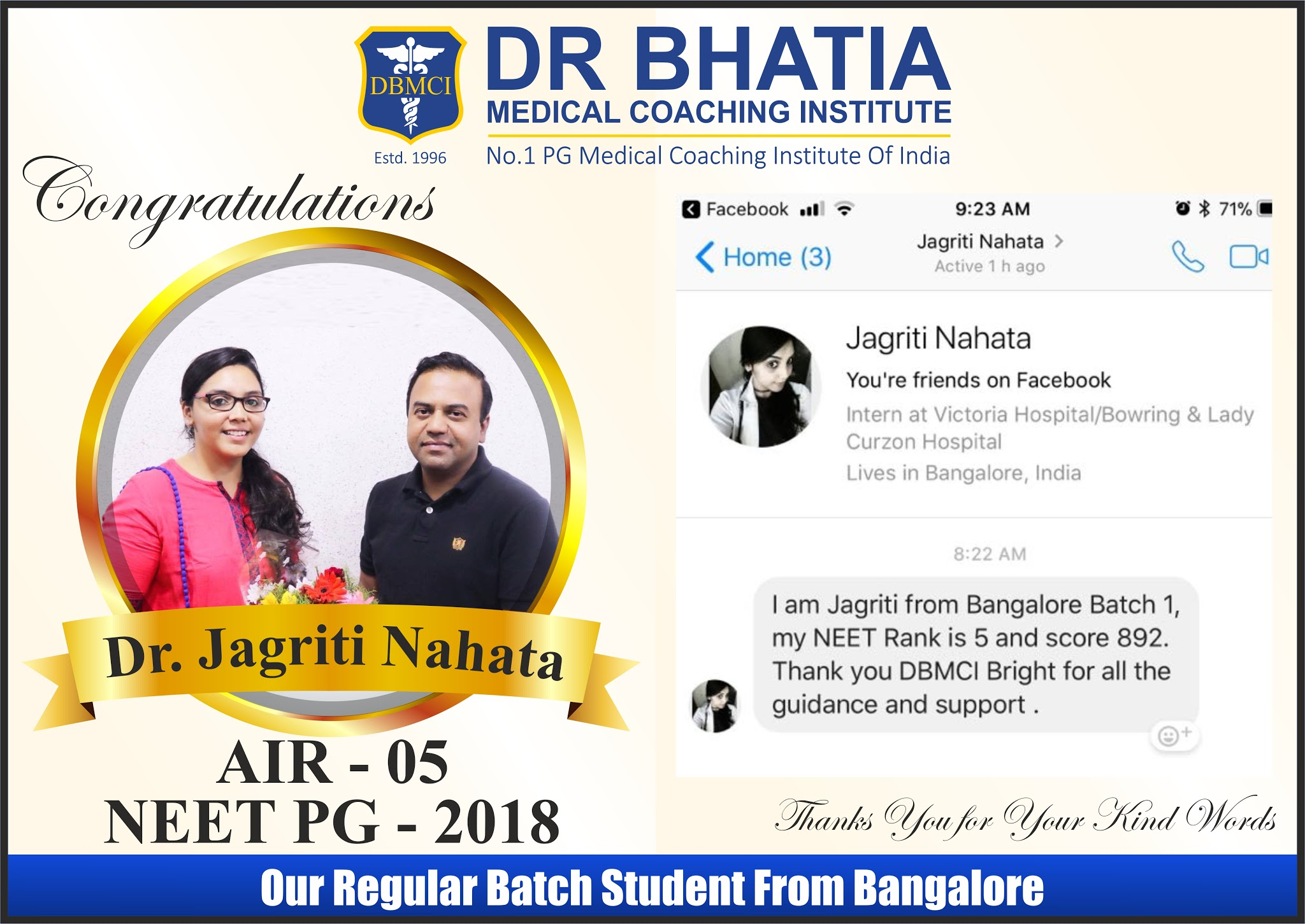 Dr. Jagriti Nahata - Rank 5 in NEET PG Jan 2018 Topper