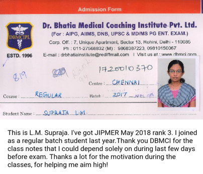 Dr. LM Supraja (Rank - 3)  JIPMER May 2018