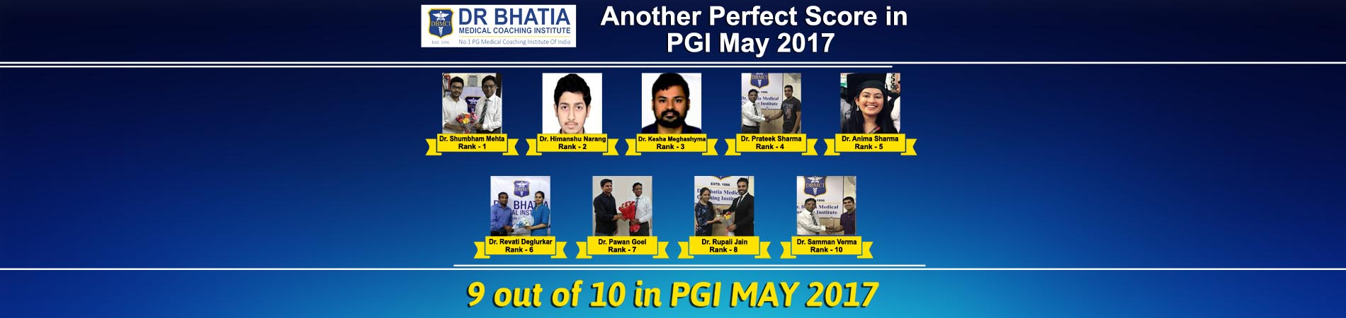 PGI May 2017 Toppers