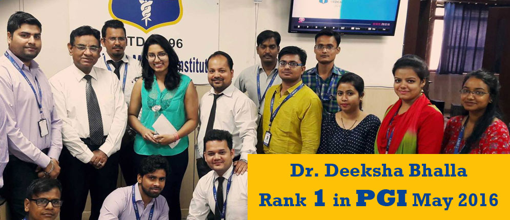 Dr. Deeksha Bhalla PGI Topper May 2016