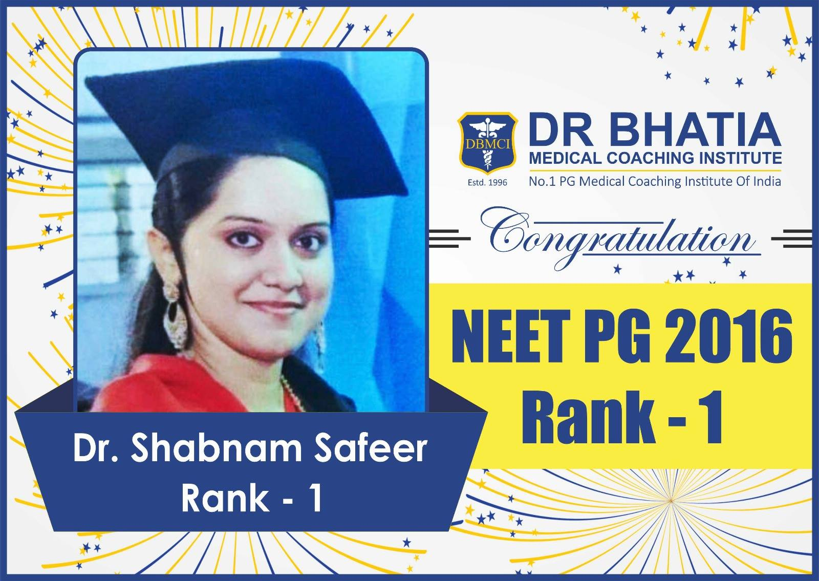 Dr. Shabnam Safeer - Rank 1 in NEET PG Jan 2017 Topper